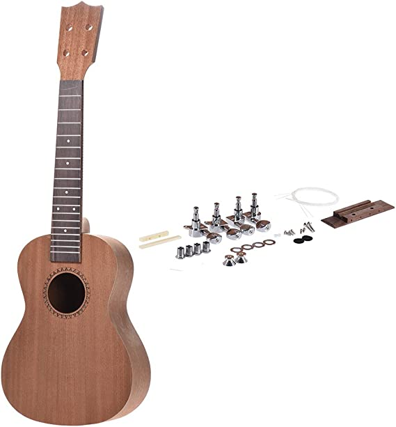 ammoon 26 inch Tenor Ukelele Ukulele Hawaii Guitar DIY Kit Sapele Wood Body Rosewood Fingerboard with Pegs String Bridge Nut