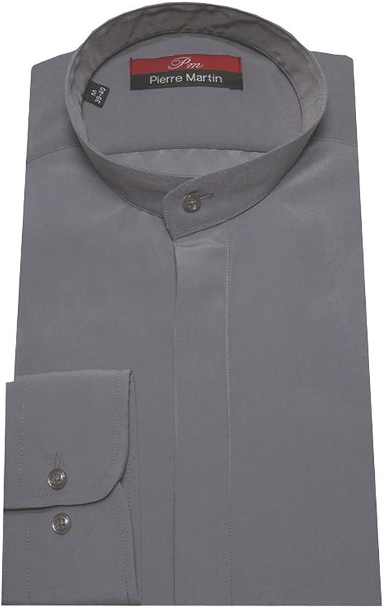 Pierre Martin DP-0018 Camisa de cuello alto gris Varilla Cuello Oculta M hasta XXL - gris, M / 39/40: Amazon.es: Ropa y accesorios