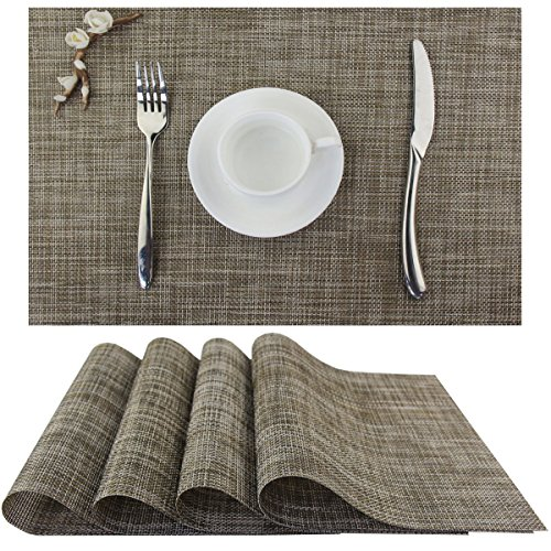 Bright Dream Placemats Washable Easy Clean dining Table Heat-resistand Pvc Table Mats 12×18 inches Set of 4(Camel)
