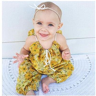 Penpell Newborn Baby Infant Girl Summer One Piece Romper Yellow Floral Print Halter Jumpsuit Sunsuit Bodysuit