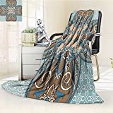 Digital Printing Blanket Arabian Style Islamic Persian Art Elements and Baroque Touch Art Print Brown Teal Summer Quilt Comforter
