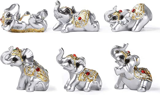 Amazon Com Silver Resin Small Elephants Statues Home Decor Collection Gift Set Of 6 Bs122 Silver Home Kitchen