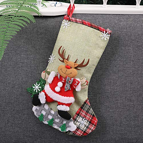 Chenway Merry Christmas Santa Stocking Sock Gift Candy Bags Decoration Xmas Tree Hanging Decor Craft Party Hanging Decoration Ornament Christmas Wreath Christmas Tree Accessories (Green) ()