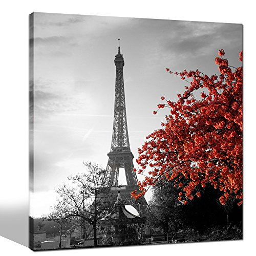 Sea Charm - Canvas Prints Wall Art - Black Eiffel Tower and Red Flower Picture on Canvas Art Wall Decorations for Living Room - Framed Artwork Ready to Hang -