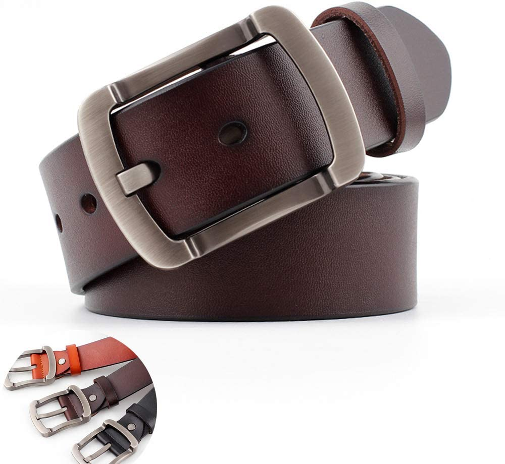 LH Mens Leather Dress Belt with Stylish Casual Leather Pants Belt Two-Layer Leather Suitable for Spring and Autumn Winter,Brown