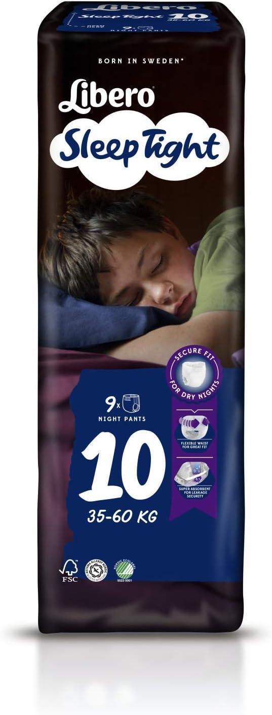 VENDITA CARTONE CONTENENTE 6 CONFEZIONI DA 9 PZ = TOTALE 54 PANNOLINI PANTS 9 PEZZI LIBERO SLEEP TIGHT PANNOLINI PANTS TAGLIA 10 PESO 35-60 KG.