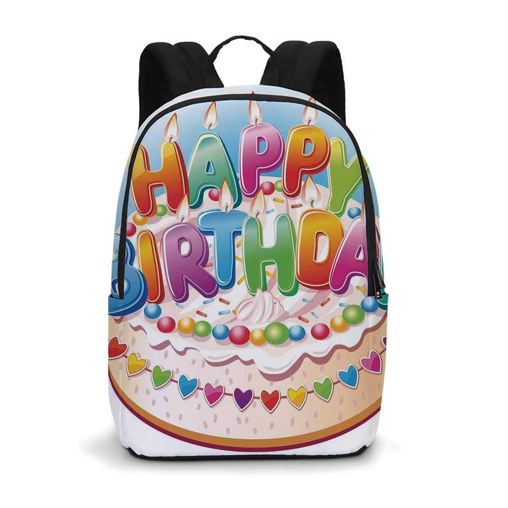 Birthday Decorations for Kids Modern simple Backpack,Cartoon Happy Birthday Party Image Cake Candles Hearts Print for school,11.8''L x 5.5''W x 18.1''H
