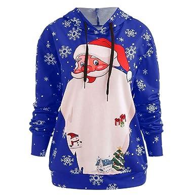 Pullover Weihnachten Elk Druck Rundhalsausschnitt Langarm