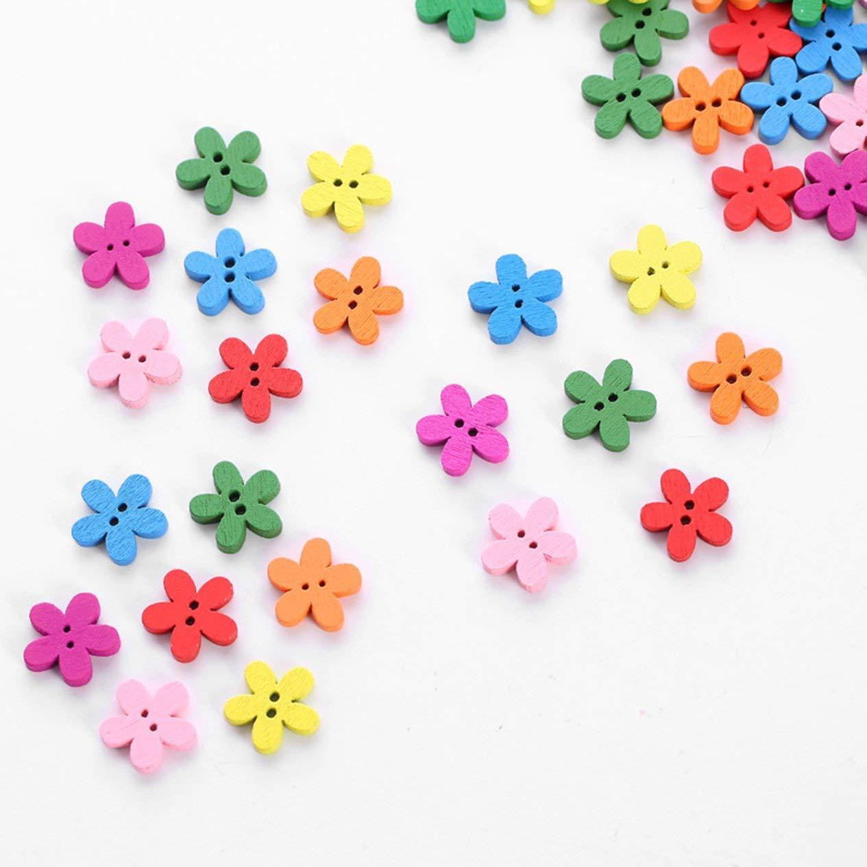 EdBerk74 100PCS Borsa Fiore Cucito Bottoni in legno per bambini Vestiti Bottoni decorativi Articoli fatti a mano Accessori per scrapbooking