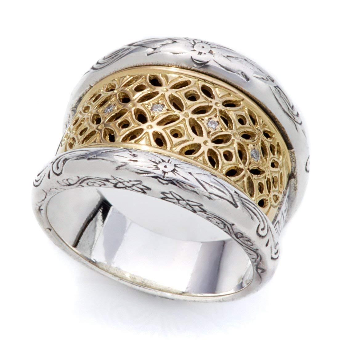 Konstantino Sterling Silver & 18k Gold w Diamond Ring