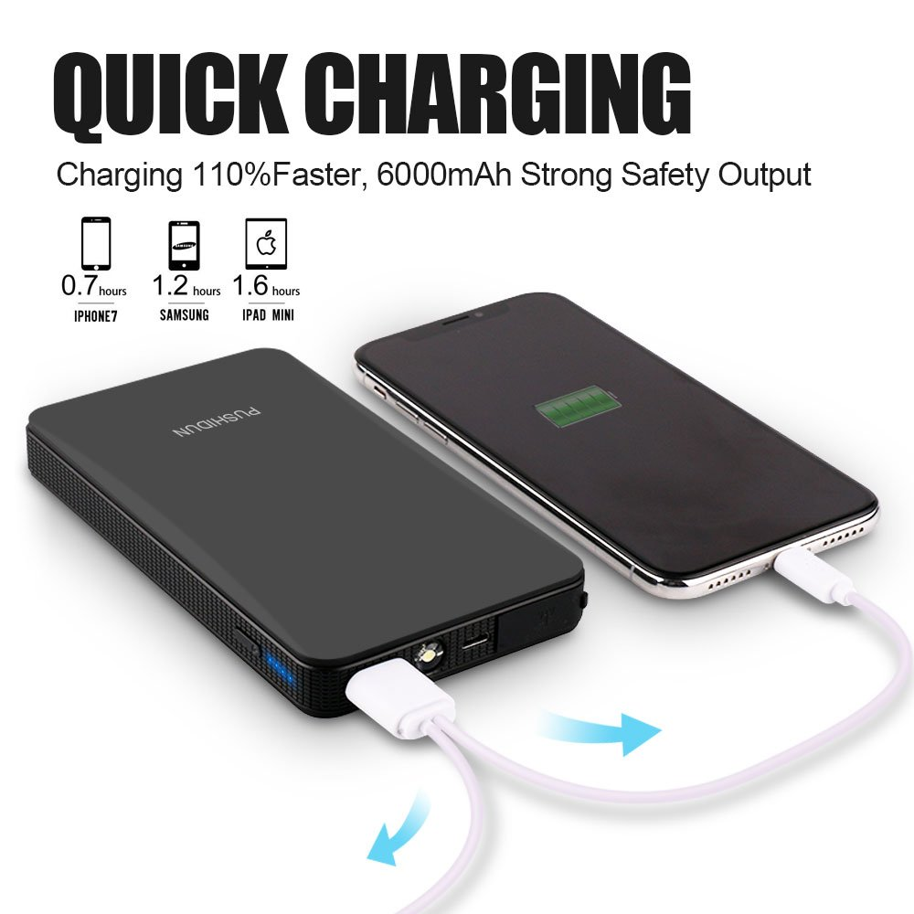 Portable Car Jump Starter Kit 6000mAh 400A Peak (Up to 2.5L Gas Car) Ultra-thin Mini Auto Battery Booster Jumper Emergency Power Pack with Smart Charging Port & LED Flashlight in 3 Modes. by PUSHIDUN (Image #4)