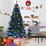 Goplus 7FT Pre-Lit Artificial Christmas Tree Auto-spread/ close up Branches 11 Flash Modes with Multicolored LED Lights & Metal Stand