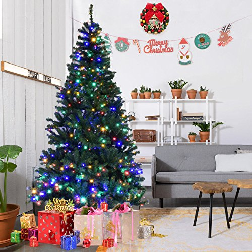 Goplus 7FT Pre-Lit Artificial Christmas Tree Auto-spread/ close up Branches 11 Flash Modes with Multicolored LED Lights & Metal Stand Pre Lit Trees