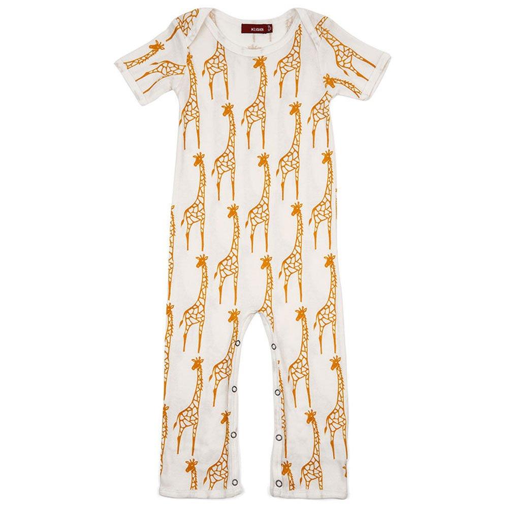 Yellow Giraffe Milkbarn Organic Cotton Short Sleeve Baby Romper
