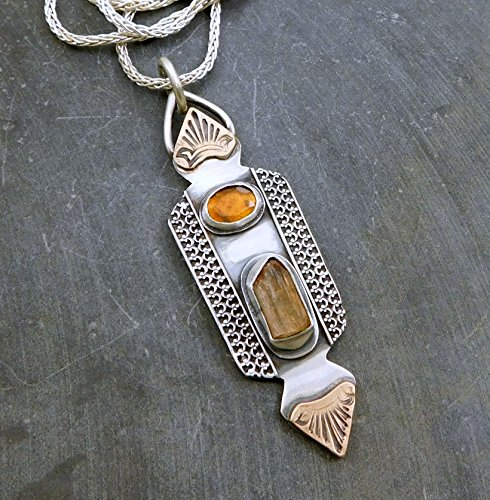 Imperial Topaz Raw Crystal Tourmaline Multi Stone Oxidized Sterling Silver Bronze Mixed Metal Multi Golden Stone Pendant Necklace