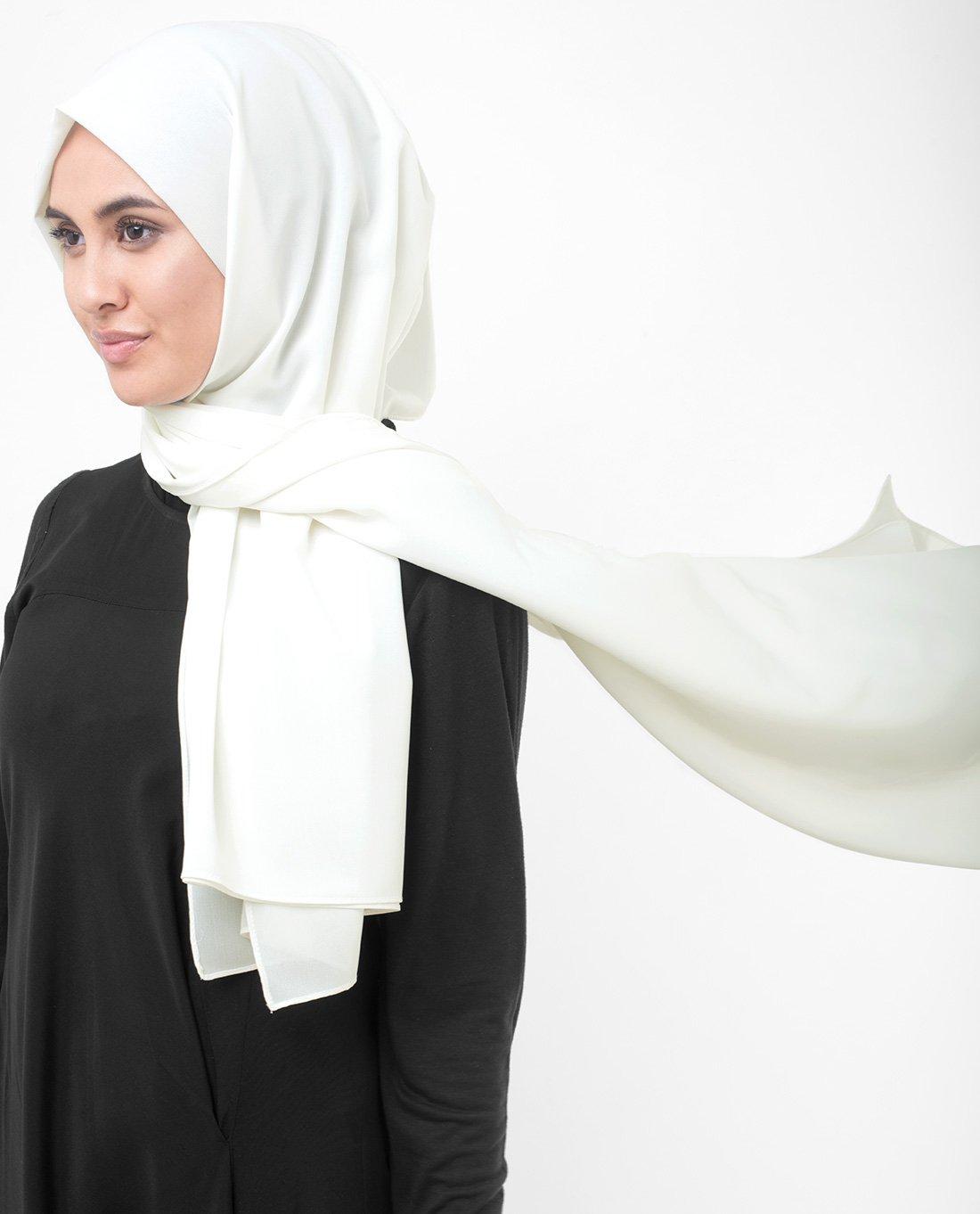InEssence Bright White Poly Georgette Scarf Women Girls Wrap Medium Size Hijab