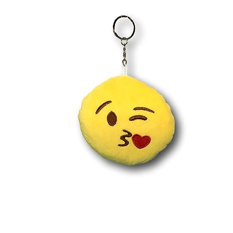 EKNA Emoji-con Emoticon Felpa Llavero con Anillo, Colgante Sonriente, Seis diseños para Elegir de (En el Amor)...