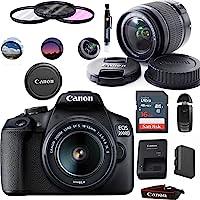 Canon EOS 2000D (Rebel T7) Digital SLR Camera with 18-55mm Lens Kit (Black) - Basic Accessories Bundle