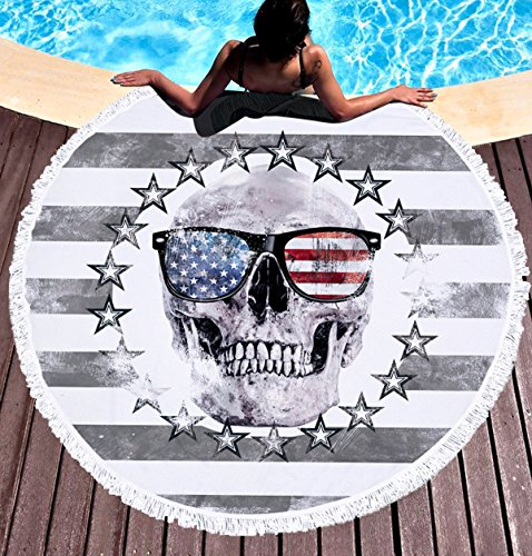 FLY SPRAY Oversized Thick Round Beach Towel Blanket with Tassels 59'' Indian Colorful Personality Skull Head American Flag Pattern Water Absorbent Soft Microfiber Camping Picnic Vacation Mat Grey