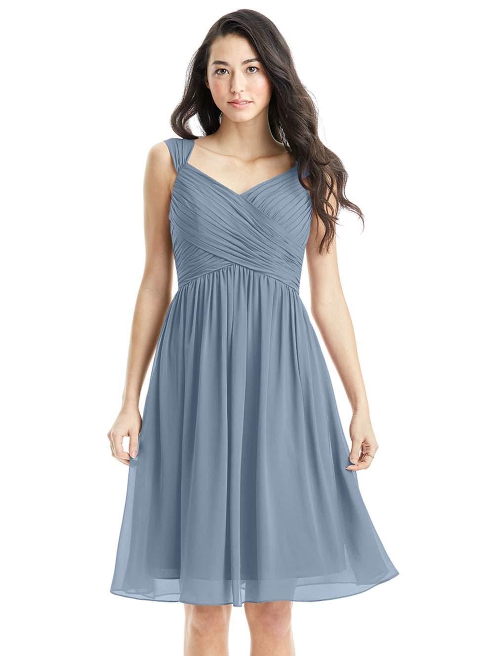 Zhongde V-Neck Chiffon Homecoming Dresses Short Knee Length Plus Size  Bridesmaid Dress with Pockets Pocket Dusty Blue Size 26