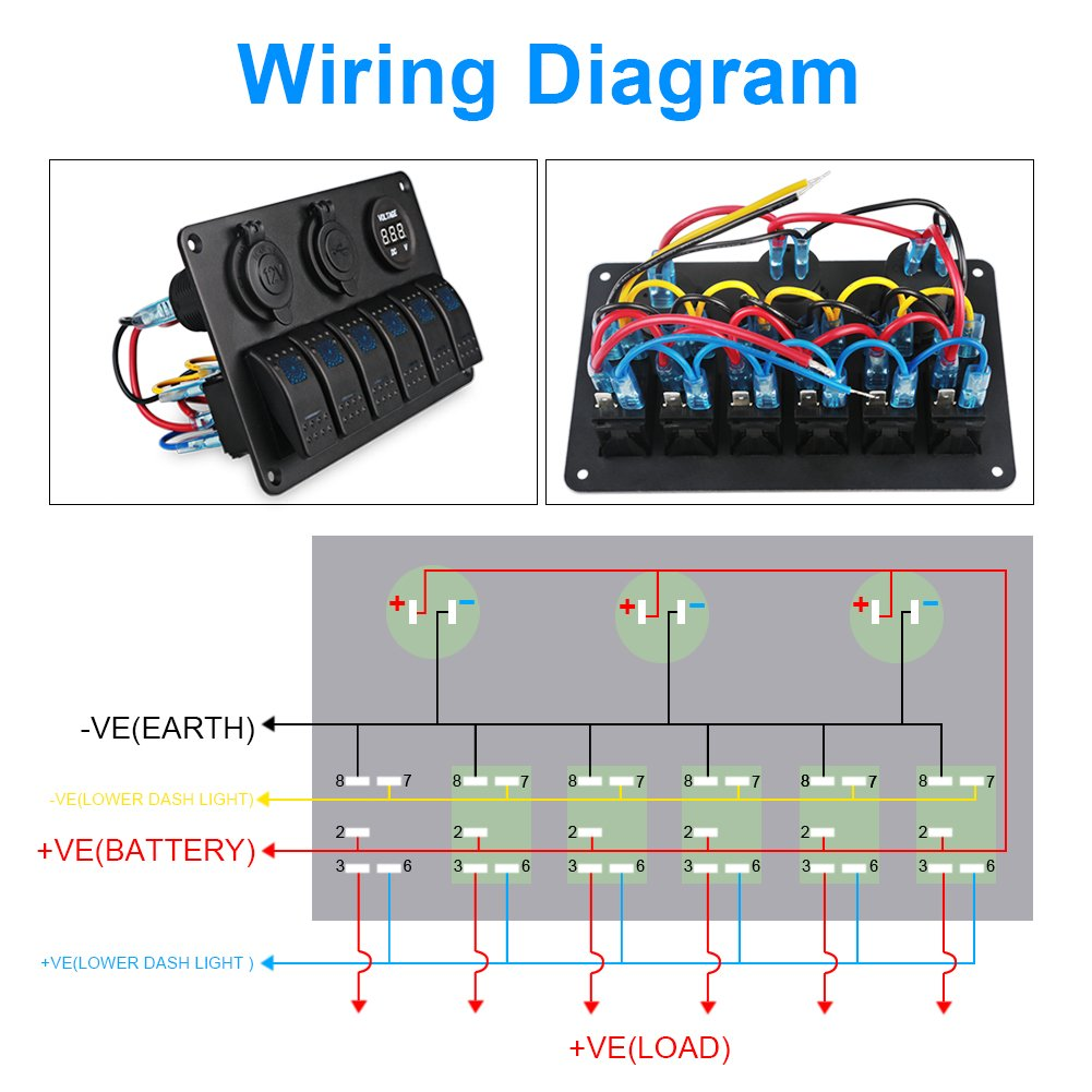 Waterwich 6 Gang Marine Ignition Toggle Rocker Switch Panel Wire Diagram 12v Cigarette Waterproof With Digital Voltmeter 31a Dual Usb Charger Lighter Socket For Rv Car Boat