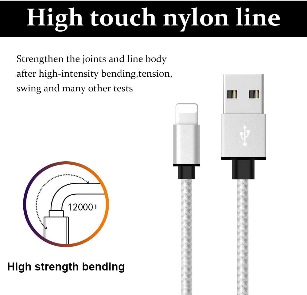 Nylon Braided USB Charging /& Syncing Cord Compatible iPhone 11//Xs//Max//XR//X//8//8Plus//7//7Plus//6S//6S Plus//iPad//Nan Werkryt MFi Certified iPhone Charger Lightning Cable 5 Pack 3//3//3//6//6FT