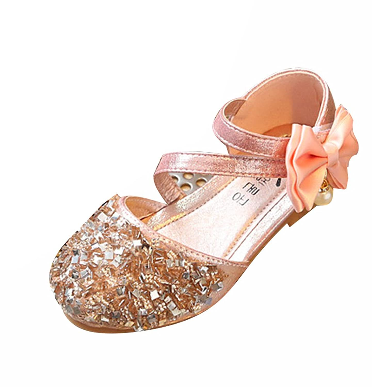 Amur Leopard Kids Girls Mary Jane Shoes Diamonds Bowknot Dance Wedding Princess Shoes(Toddler/Little Kid) Pink 8M US Toddler