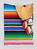 Ambesonne Mexican Decorations Collection, Mexican Artwork with Sombrero Straw Hat Maracas Serape Blanket Rug Image, Bedroom Living Room Dorm Wall Hanging Tapestry, Green Blue Red Ivory