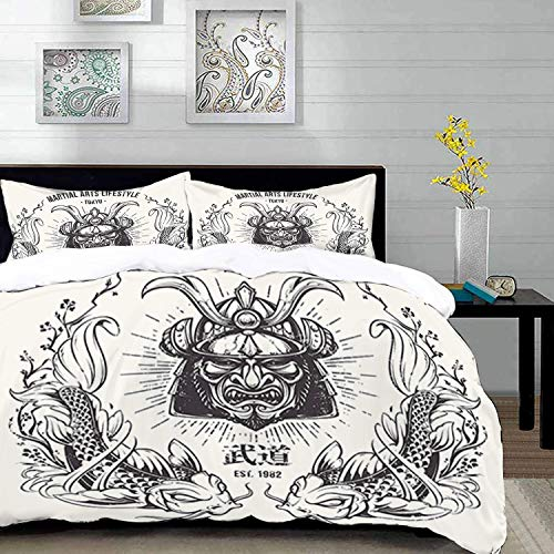 Duvet Cover Set,Asian Theme Image,Traditional Japanese Samurai Mask Koi Fish Martial Arts Lifestyle Tokyo Typography,Queen/Full Size Decorative 3 Piece Bedding Set with 2 Pillow Shams,Brown White ,Sup ()