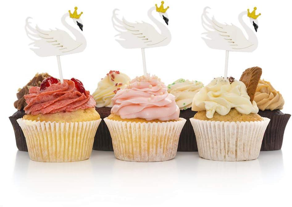 HOKPA Swan Cupcake Cake Toppers, Elegant Swan Dessert Food Picks for Girls' Birthday Wedding Bridal Engagement Party Baby Shower Decoration (15PCS White)