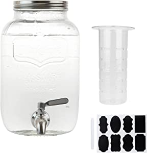 Cold Brew Coffee Maker,1 Gallon Brew Mason Jars With Stainless Steel Spout,Home Brewing Iced Coffee Maker With Filter,Glass Pitcher Tea Infuser,4L Beverages Glass Dispenser with Spigot Airtight Lid