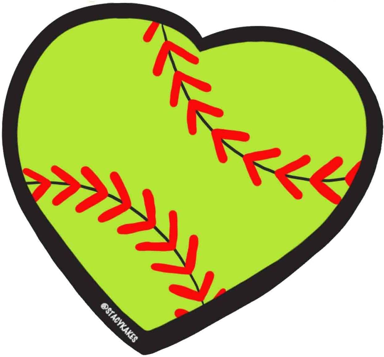 Softball Heart Decal - for Cars, Laptops, and More! - Use Inside or Outside - Sicks to Any Flat Smooth Surface