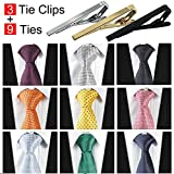 Jeatonge 9pcs Mens Ties and 3pcs Tie Clips, Men's Classic Tie Necktie Woven Jacquard Neck Ties (Style 1)