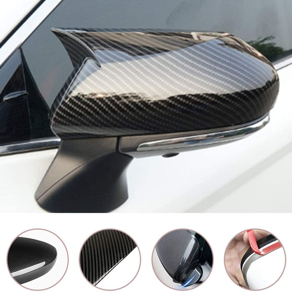 Boltry ABS Engineering Plastics,Carbon Fiber Print Chrome Door Side Rearview Mirror Cover Trim for Toyota Camry 2018 2019 2020