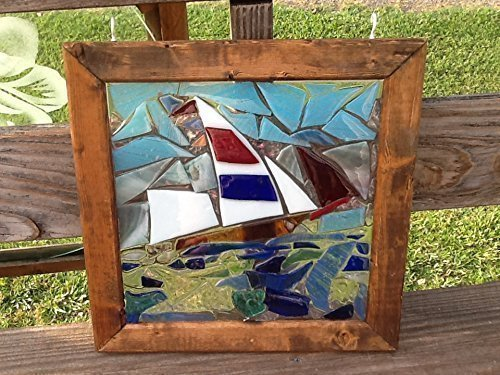 Stained Glass Sailboat (Stained Glass Sail Boat Window Art sun catcher)