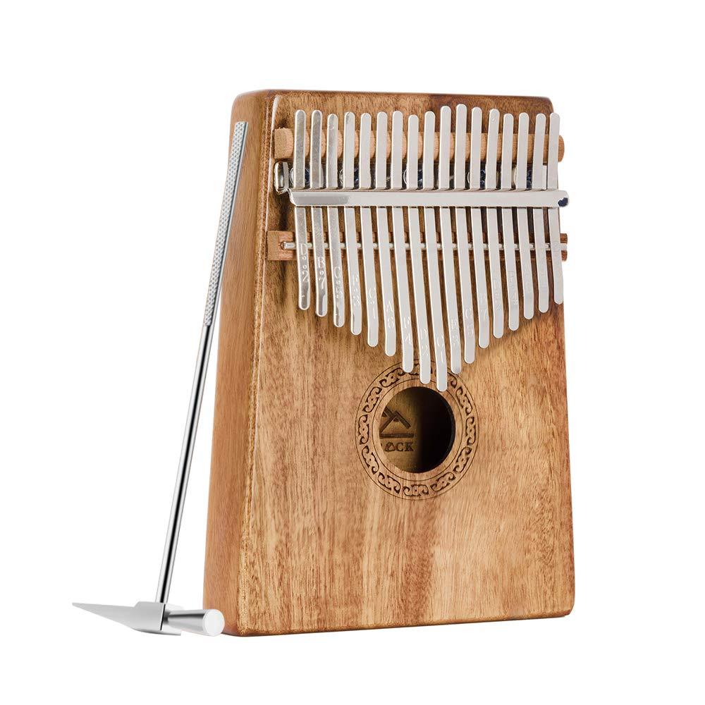 EastRock Kalimba 17 Keys Thumb Piano for Kids Acacia/Koa Body Portable Mbira Tuning Hammer and Study Instruction Finger Piano for Beginners