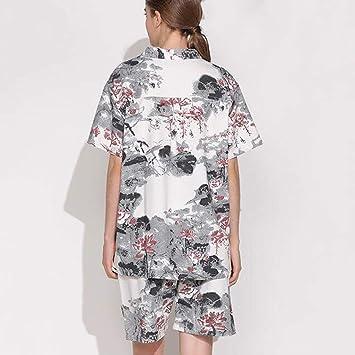 Tracksuit Traje de Pijama, algodón con Bolsillos Albornoz, algodón con Cuello en v y Lino