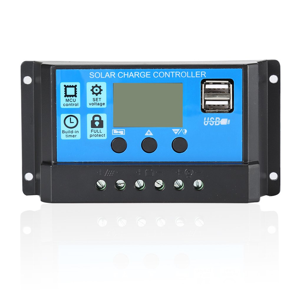 Solar Charge Controller,PWM Solar Panel Battery Intelligent Regulator Dual USB Port Multi-Function Street Light Controller Auto Paremeter Adjustable LCD Display (12V,10A/20A/30A) (20A) by SY&EZ
