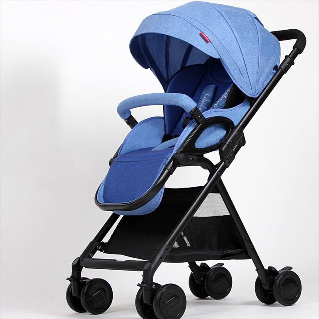 新生児の赤ちゃんキャリッジ折りたたみ可能な座って、1ヶ月の赤ちゃんをダンピングすることができます3歳の赤ちゃんの4つの車輪トロリー目覚め (色 : 青) B07DVB8QC2 青 青