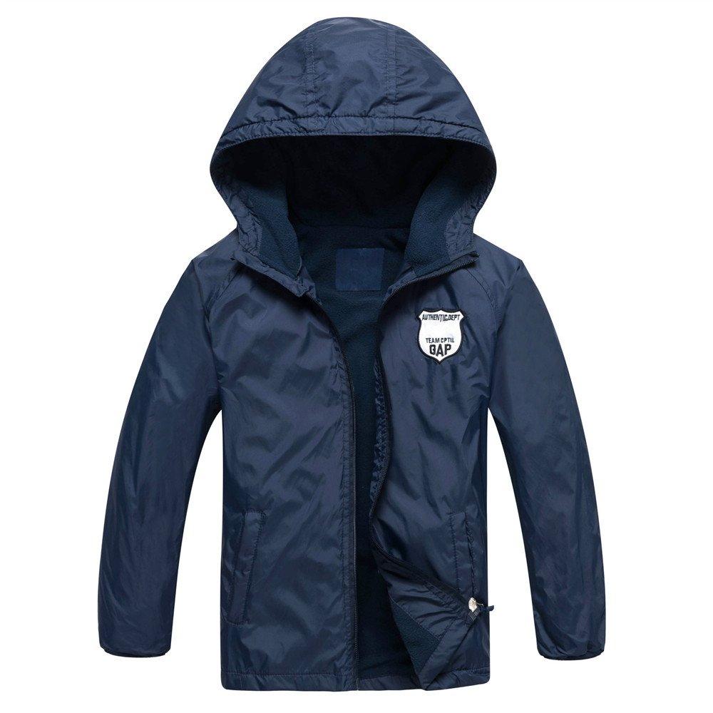 Star Flower Boys Rain Jackets Waterproof with Hood Outwear (8, Blue-2)