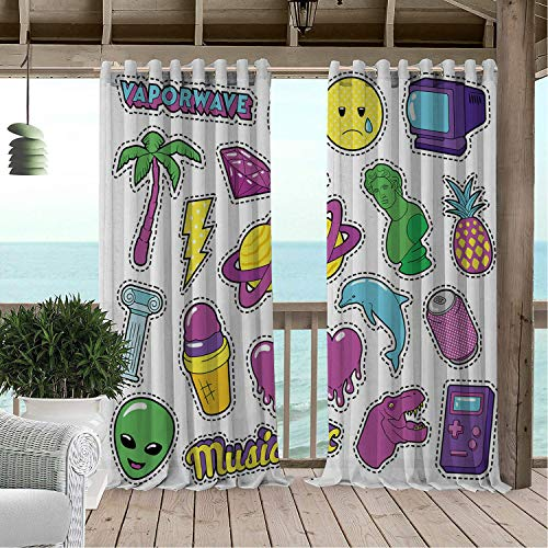 Patio Waterproof Curtain Vaporwave Funky Elements Heart Ice Cream and Greek Statue Dashed Line Frames Doodle Multicolor Porch Grommet Patterned Curtains 108 by 96 inch