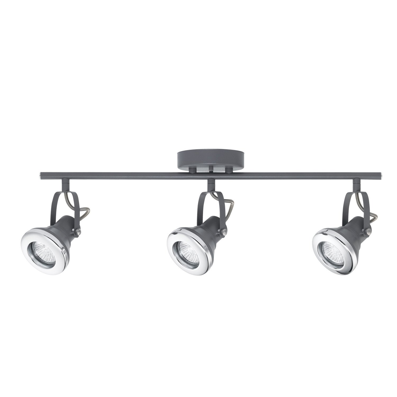 Novogratz Lawrence 3-Light Halogen Track Lighting Kit, Gray Finish, Chrome Accents 58557