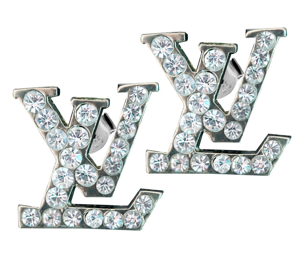 Silver plated LV earring with CZ Clear crystals - Packed in a lovely gift box