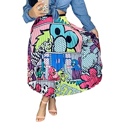 Ali Mei Women's Cartoon Printed Pleated Skirts Graffiti A-Line Skirt Skirts at Amazon Women's Clothing store