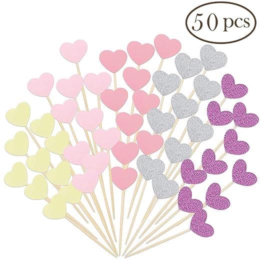 Seronline 50 piezas Mini corazón Cupcake Toppers Glitter Cake Snack decoraciones para fiesta de cumpleaños boda Baby Shower accesorios: Amazon.es: Hogar