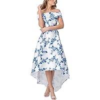 GOSOPIN Women Off Shoulder Floral Print Long Prom Dress Evening Gown