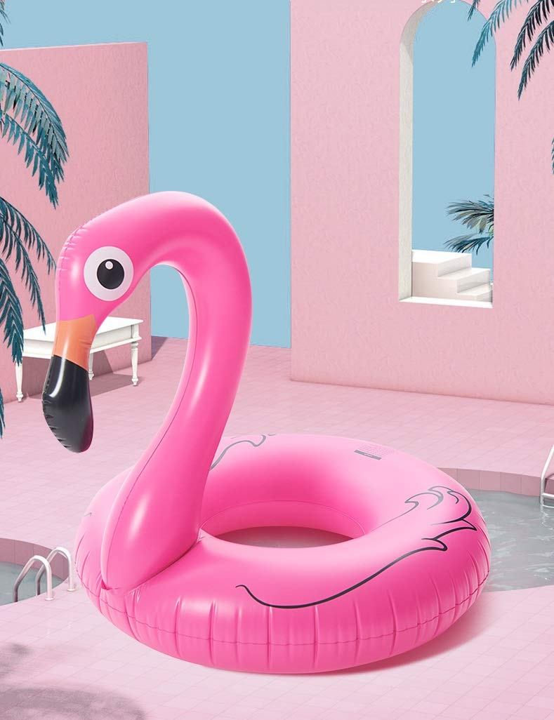 Intime Pink Inflatable Flamingo Float Tube for Adult and Kids (with A Foot Pump) by Intime