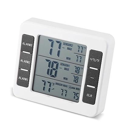 2PCS Termómetro Audible Inalámbrico de Alarma de Refrigerador con Exhibición Mínima / Máxima de Sensor