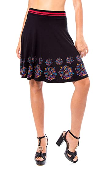 Desigual Luxury Fashion 19WWFK14BLACK - Falda para Mujer, Color ...