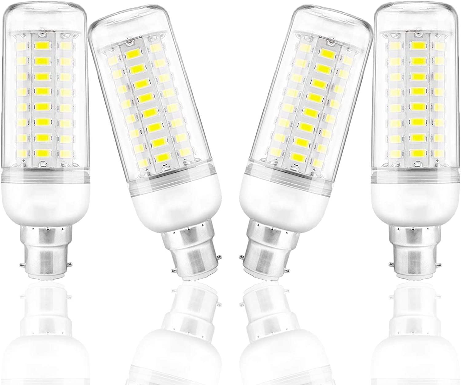 CA 220V~ 240V Pack of 4 UYBAG B22 Bayonet Light Bulb 6000K Cold White 12W LED 72 5730 SMD Corn Bulbs 100W Incandescent Equivalent Not Dimmable 1200Lm 360/° LED Light Bulbs